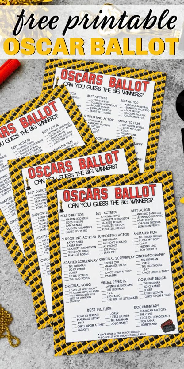 Free printable 2020 Oscar ballot