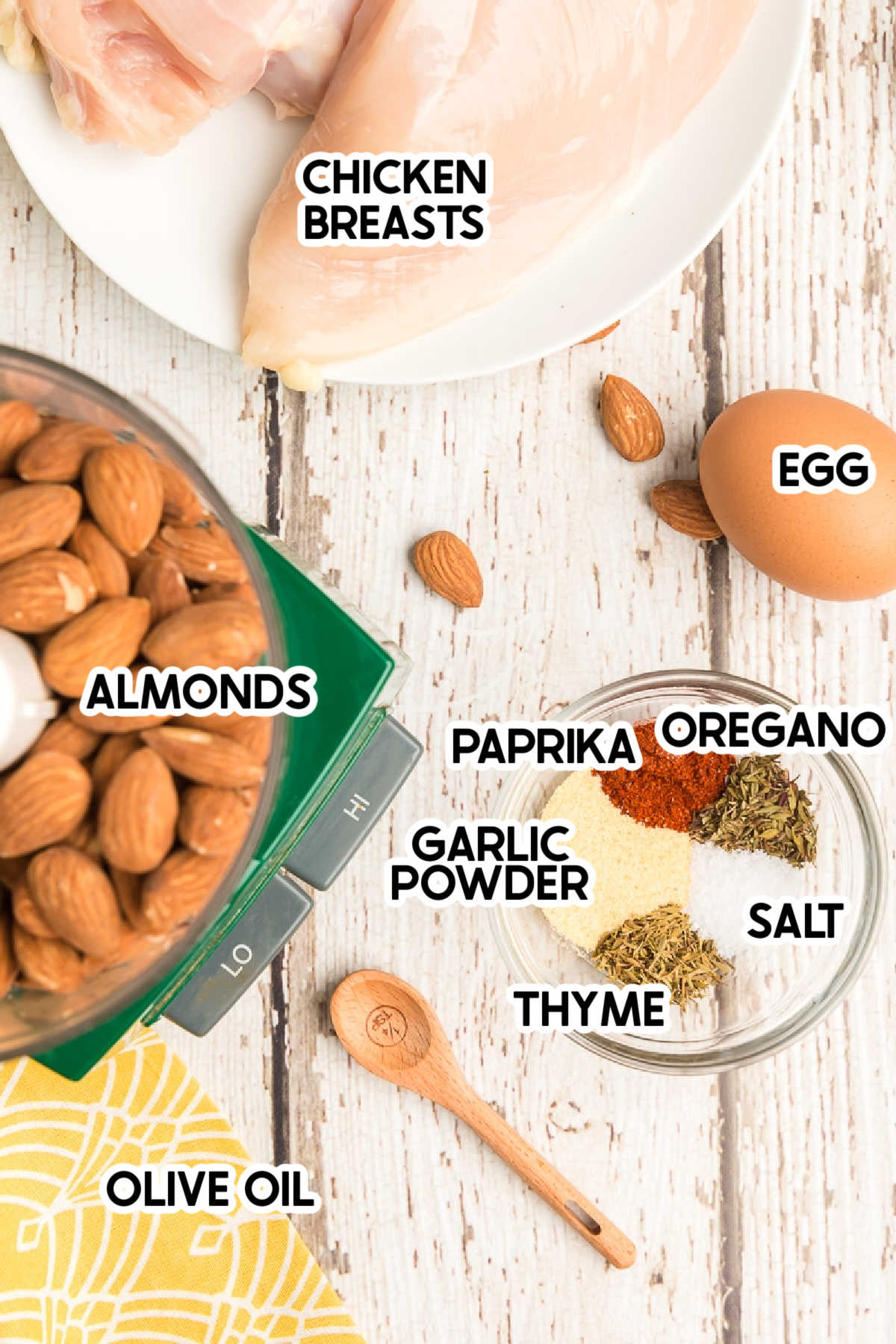 Ingredients needed for almond chicken with labels