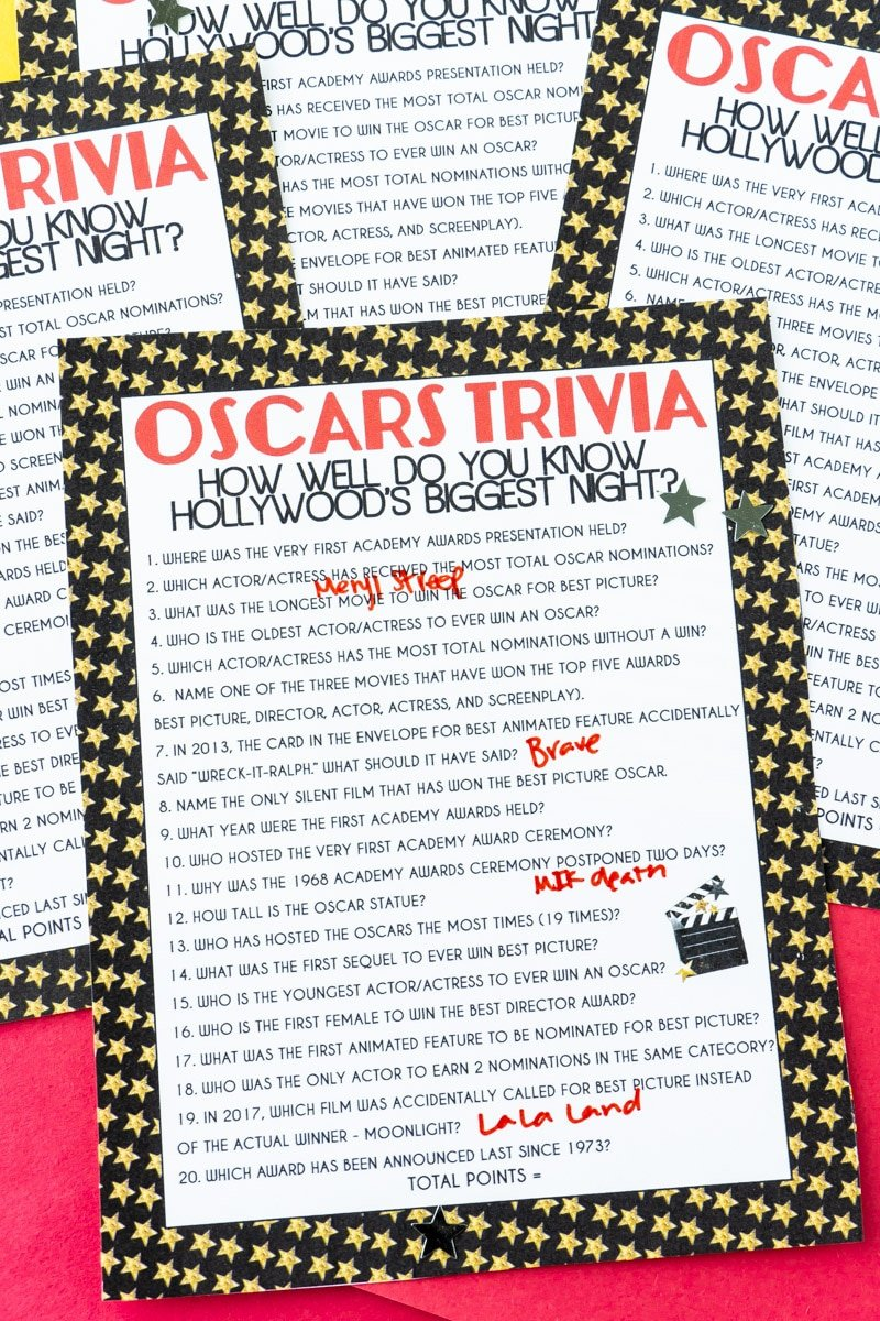 Answered Oscar trivia questions