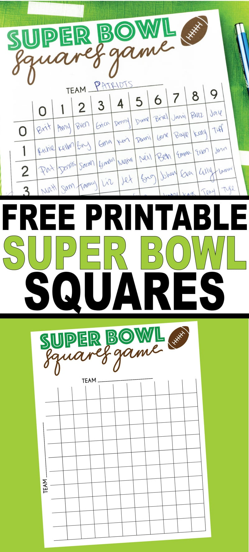 Free printable Super Bowl squares game board! Perfect for any some Super Bowl fun or really watching any football game!