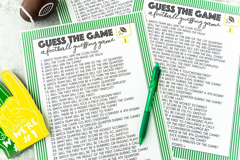Super Bowl guessing game printable