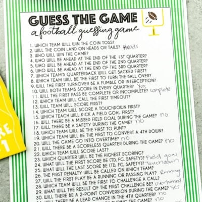 Free Printable Super Bowl Guessing Game