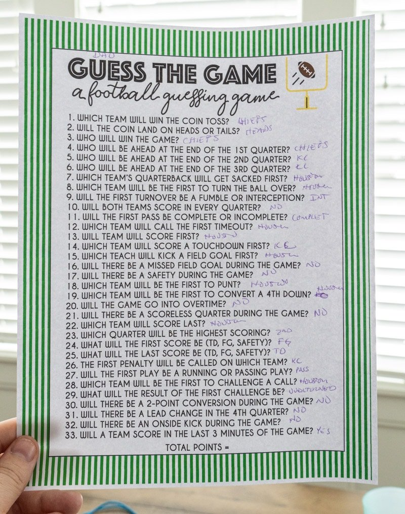 Super Bowl guessing game key