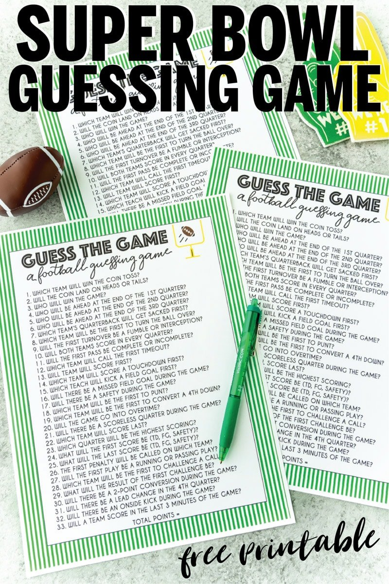 Super Bowl guessing game for all ages