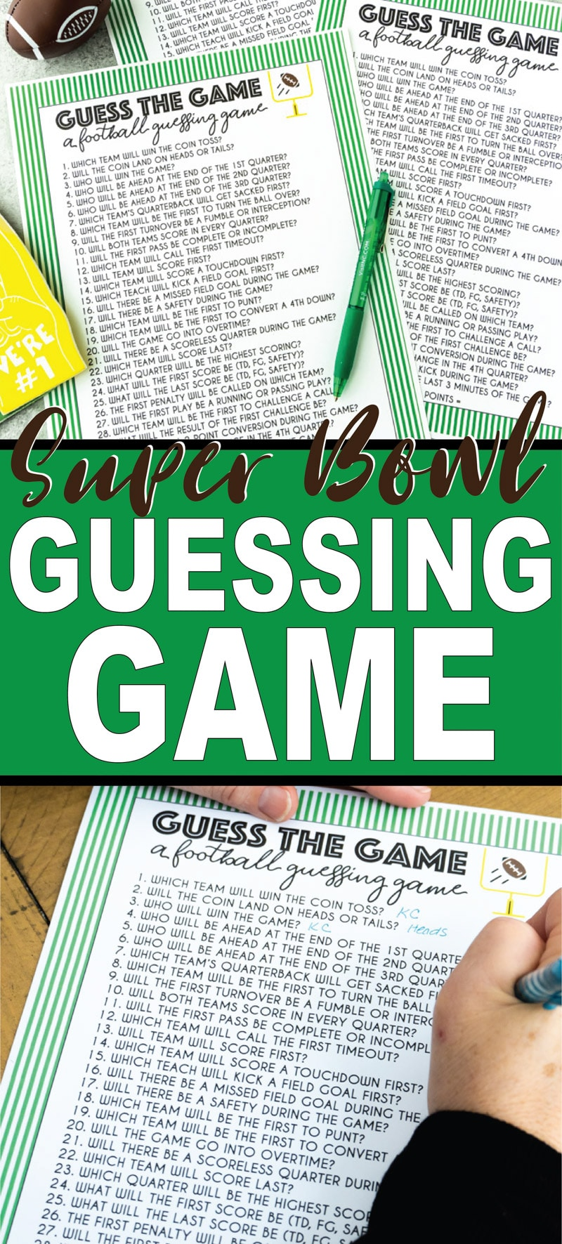 This fun Super Bowl guessing game is great for kids and for adults! See if you can guess who will win the coin toss, who will score first, and more in this easy guessing game! Play during Super Bowl or any football game! via @playpartyplan