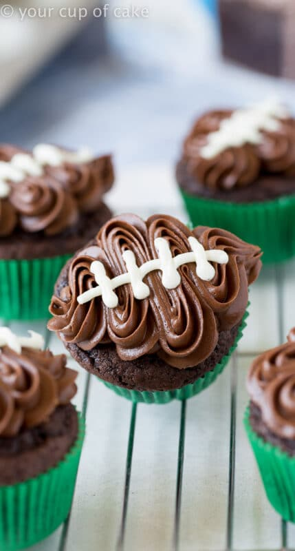 Football cupcakes and other super bowl party food