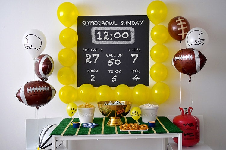 A balloon field goal post makes one of the best Super Bowl party ideas