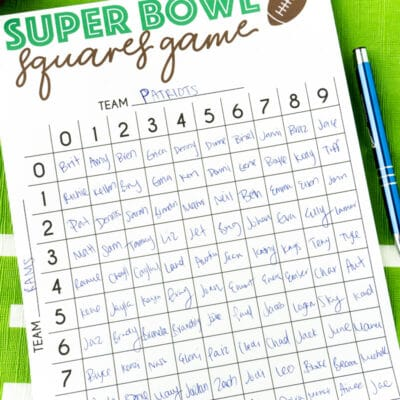 Free Printable Super Bowl Squares Template