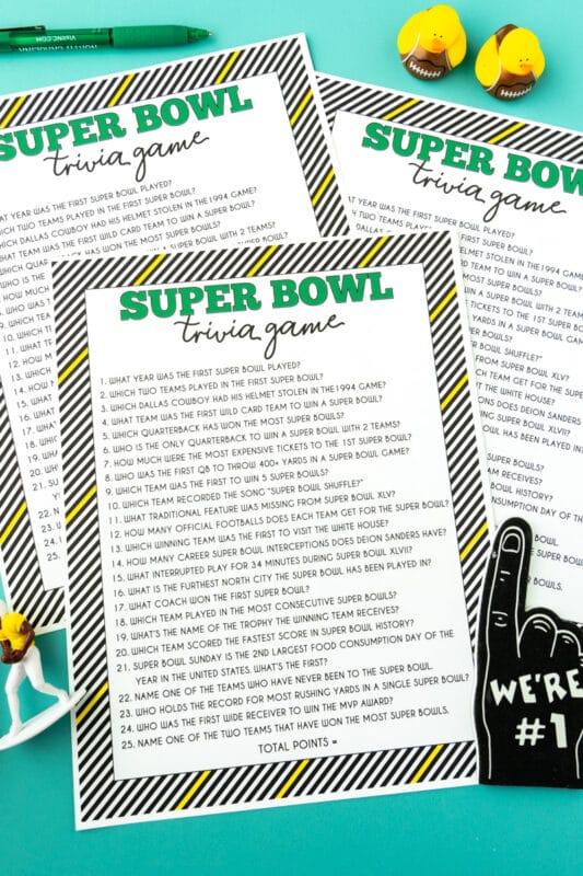 Printed sheets of Super Bowl trivia