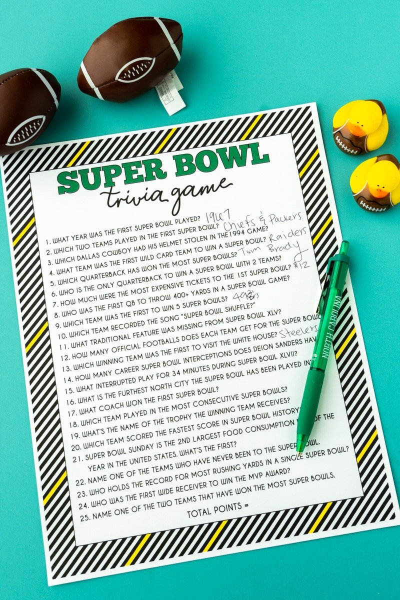 Printed Super Bowl trivia game