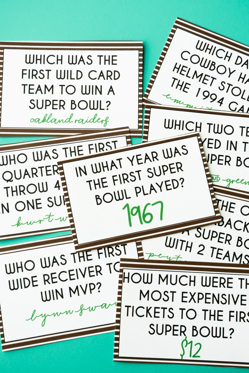 Super Bowl trivia card