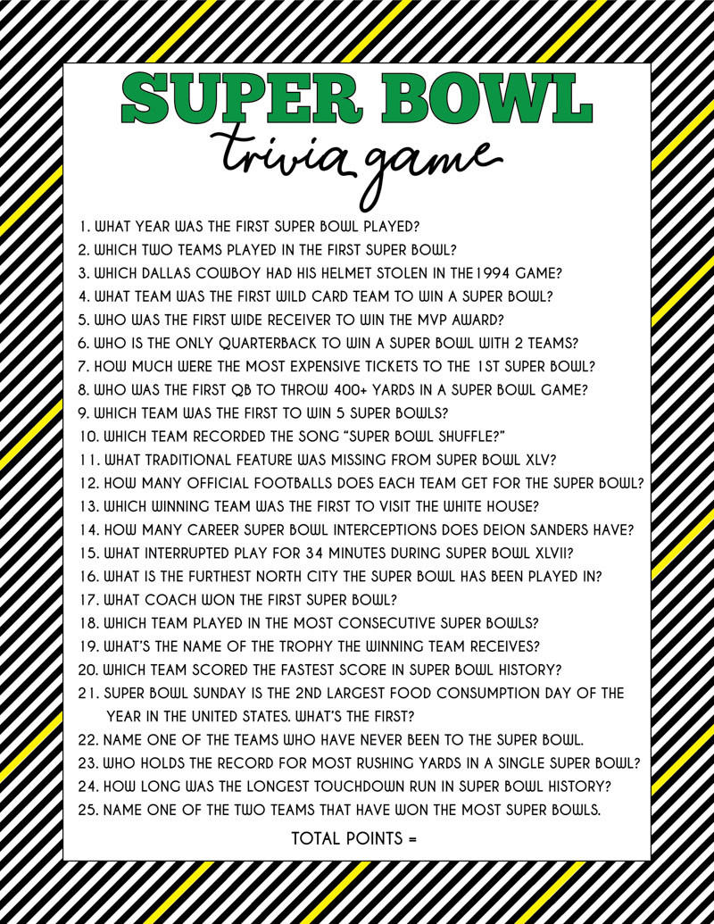 Super Bowl trivia game sheet