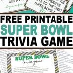 A fun Super Bowl trivia game with both a printable game version and printable cards to ask before and after the game! One of the best Super Bowl party games ever!