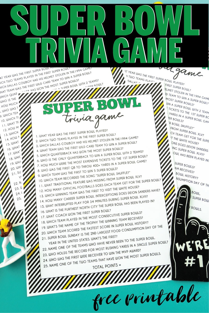 Printable Super Bowl trivia game