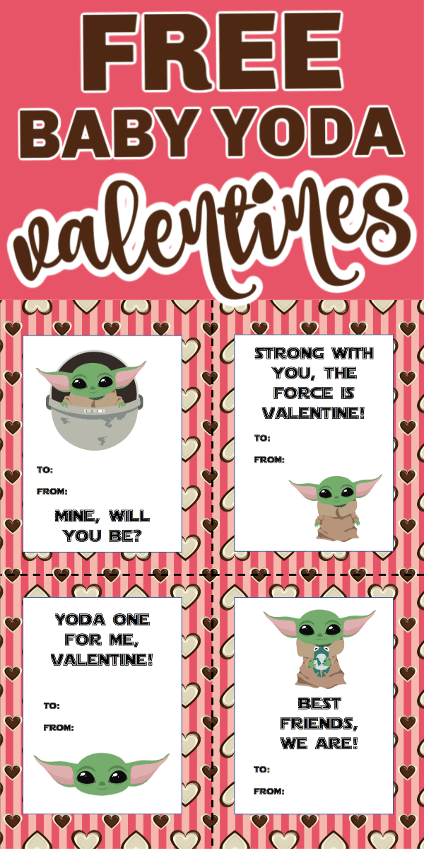 Free printable Baby Yoda valentines! Perfect for any Star Wars or Mandalorian fans!