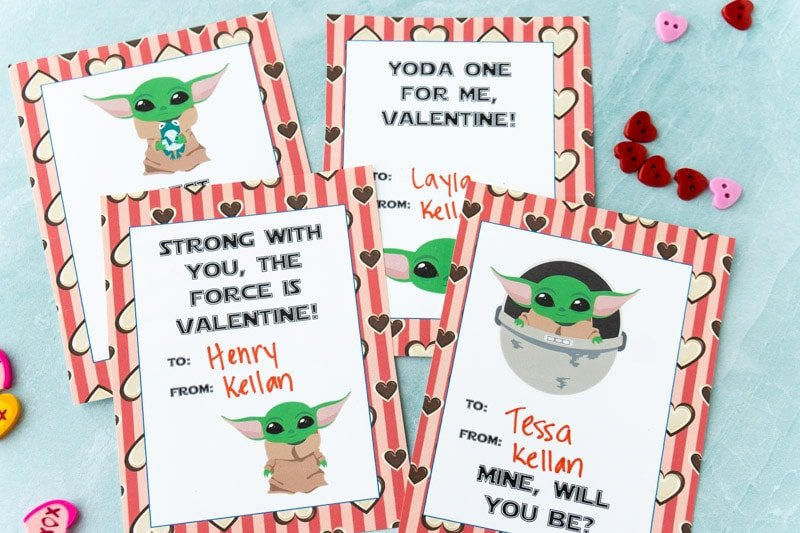 Printed out Baby Yoda valentines