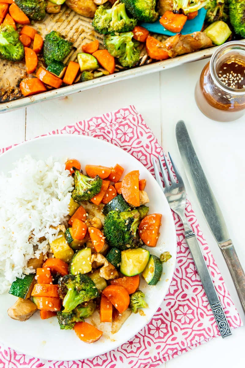 Plate with sheet pan teriyaki chicken and rice