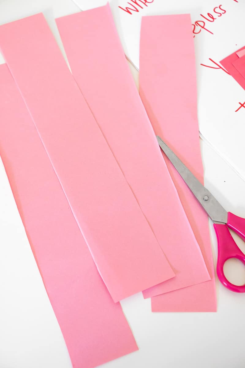cutting strips for Valentines Day family feud