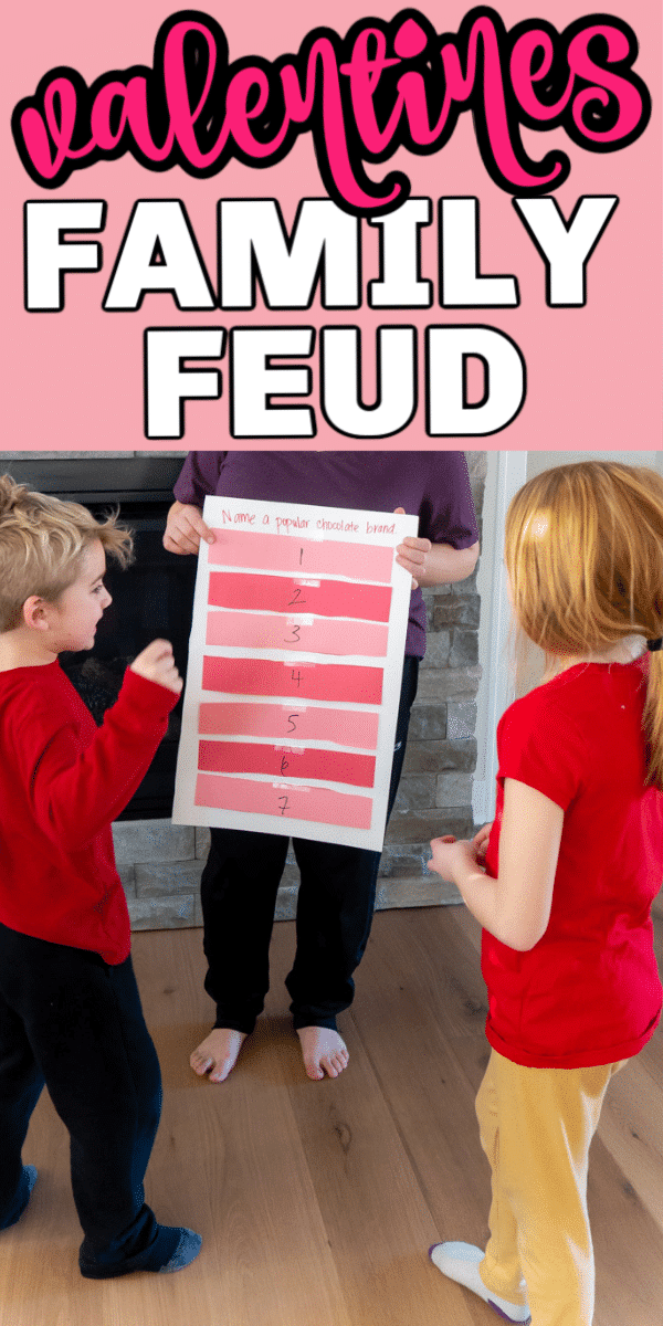 This Valentines Day family feud game is one of the most fun Valentines Day party games! Easy enough for kids and fun for teens and adults!