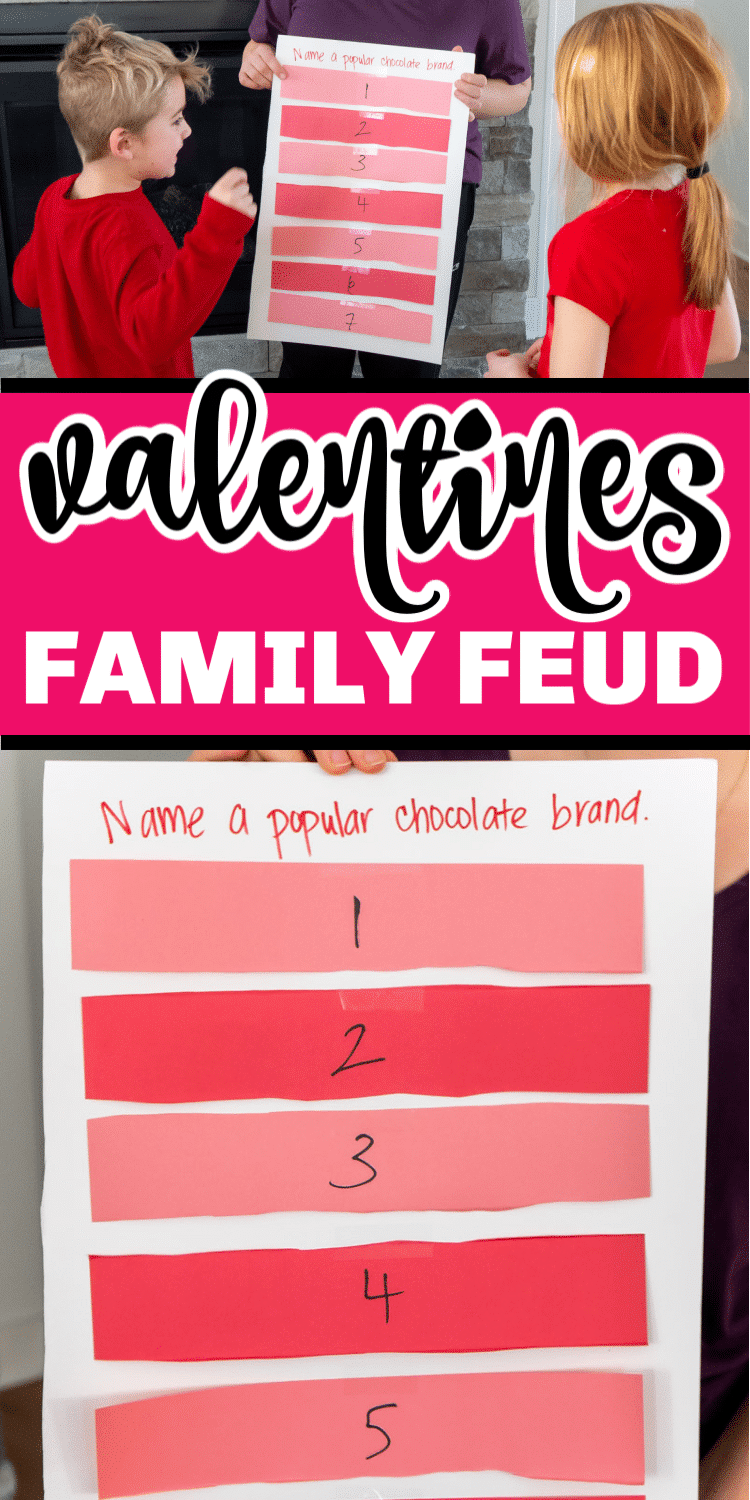 This Valentines Day family feud game is one of the most fun Valentines Day party games! Easy enough for kids and fun for teens and adults! via @playpartyplan