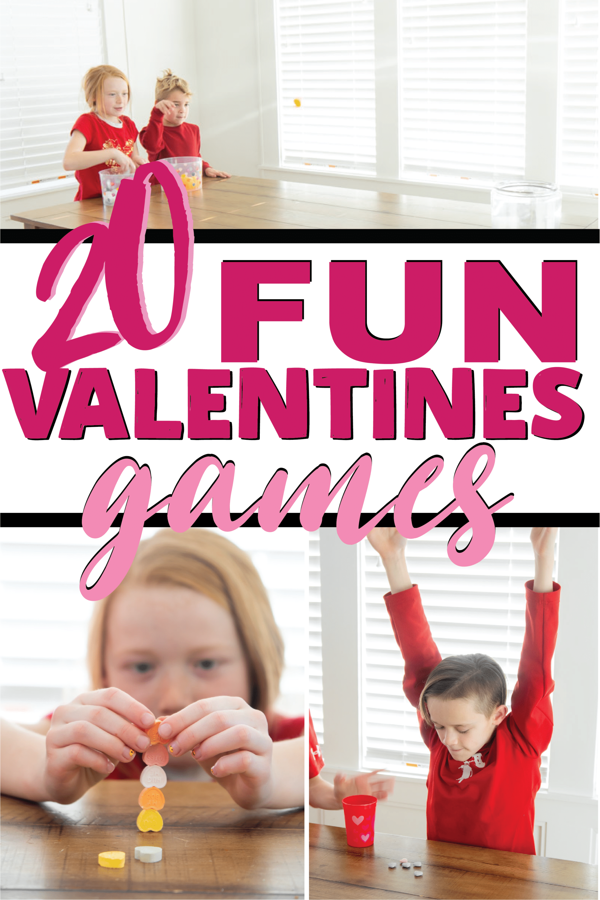 The best minute to win it Valentine's Day games for any age! Great for kids, for adults, for couples, for teens, and even for seniors! Play in the classroom, for school parties, or at home!