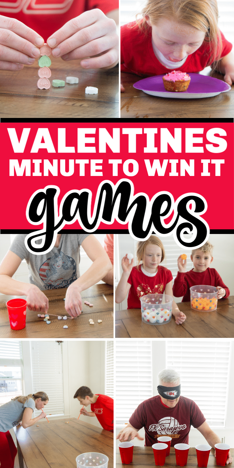 Kids and adults alike will love these conversation heart Valentines minute to win it games! They're easy to play, hilarious to watch, and inexpensive to setup! Perfect for Valentine's Day classroom parties, game nights, and family fun! via @playpartyplan