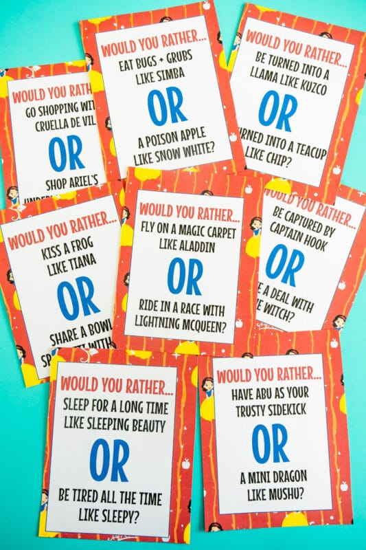 Printed would you rather questions