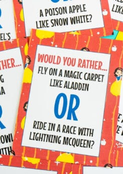 Printed Disney would you rather questions for kids