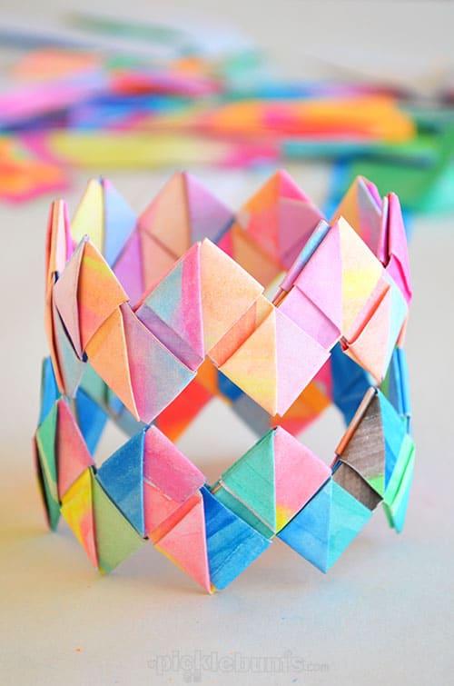 Paper bracelet making is one of the best indoor activities for kids