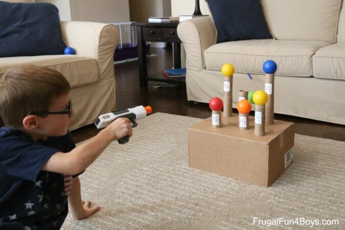 Shooting Nerf guns makes great indoor fun for kids