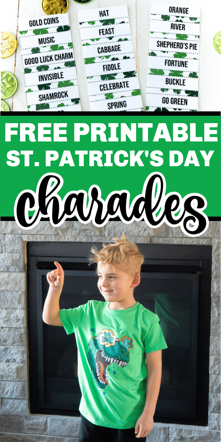 Free printable St. Patrick's Day charades words! Perfect for playing with a classroom of kids, for a family activity, or an adult St. Patrick's Day party!