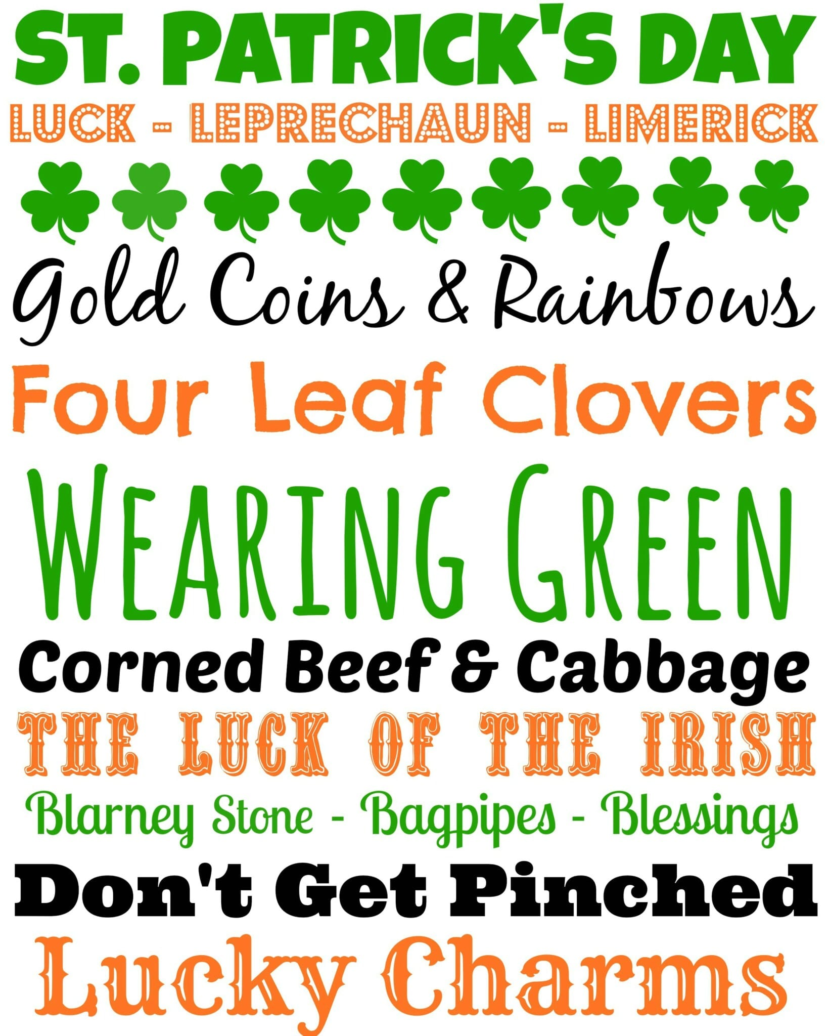 Words for St. Patrick's Day games for adults