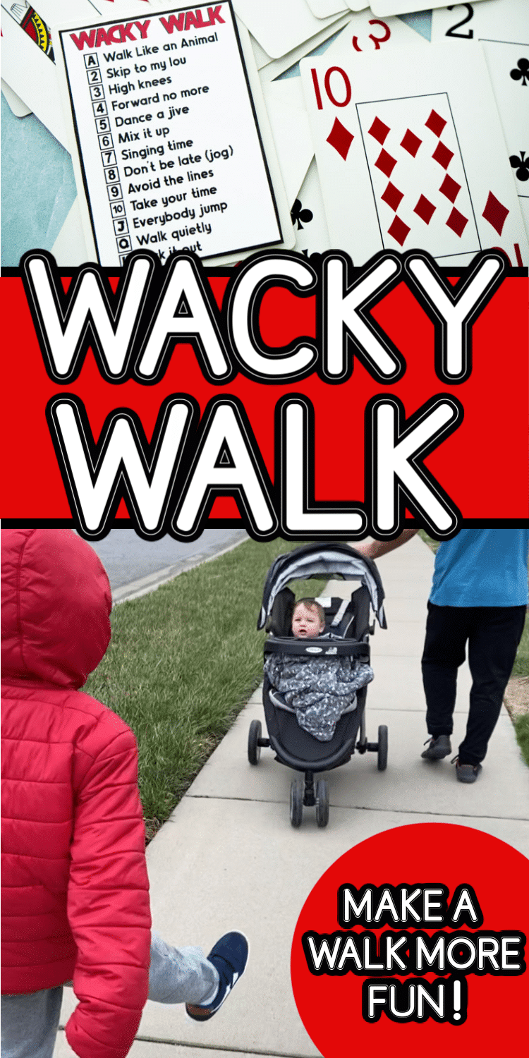 This wacky walk is a fun workout idea with kids! Make a normal walk outside even more fun with just a deck of cards!