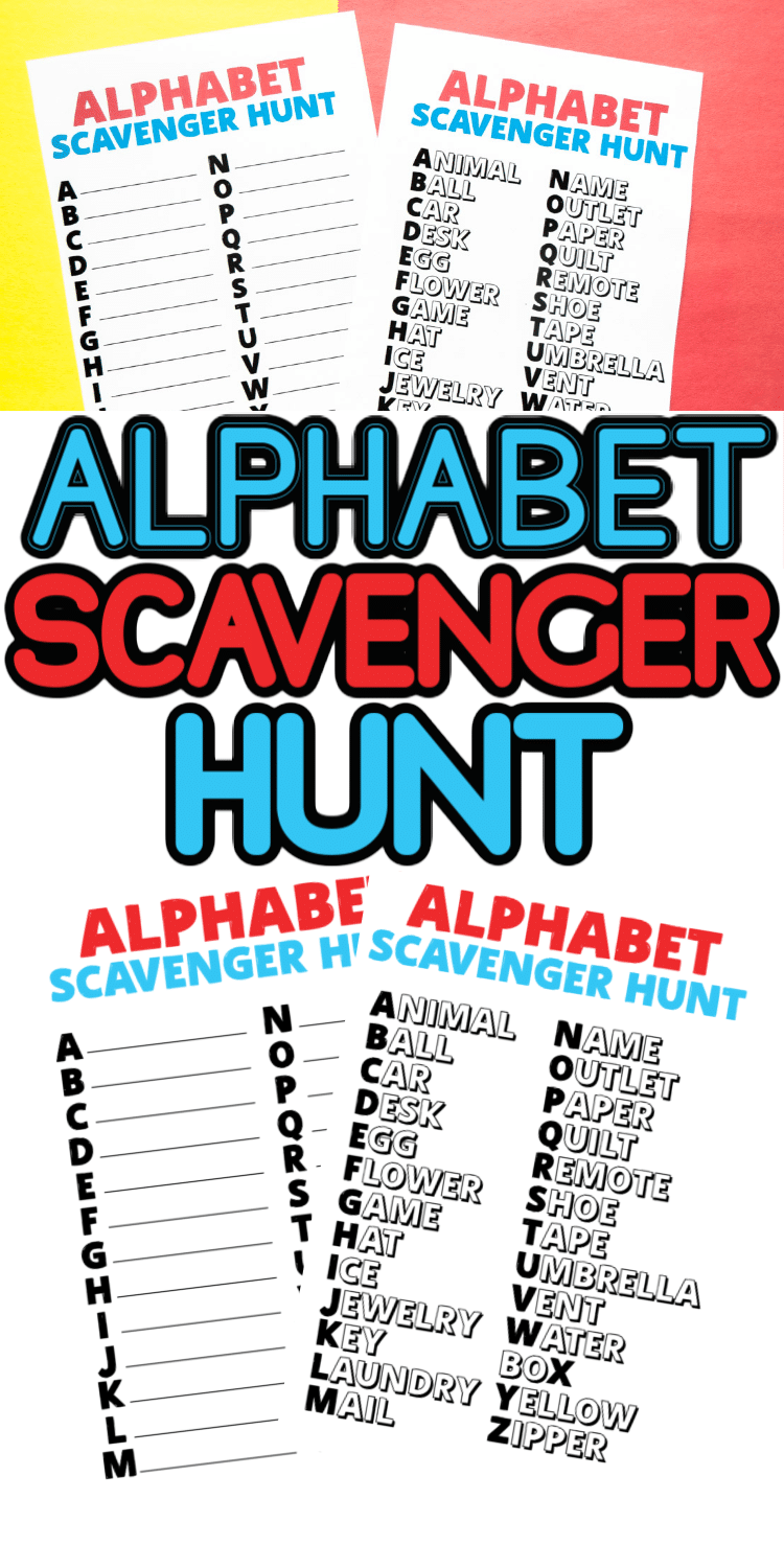 This free printable alphabet scavenger hunt is a great indoor activity for kids! Search for things around the house that start with different letters of the alphabet, write them down (or cross them out), and celebrate when you find every item from A to Z!