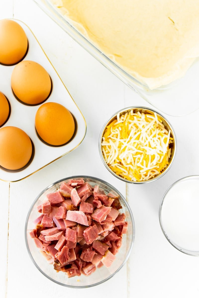 Ingredients for a ham and cheese breakfast casserole