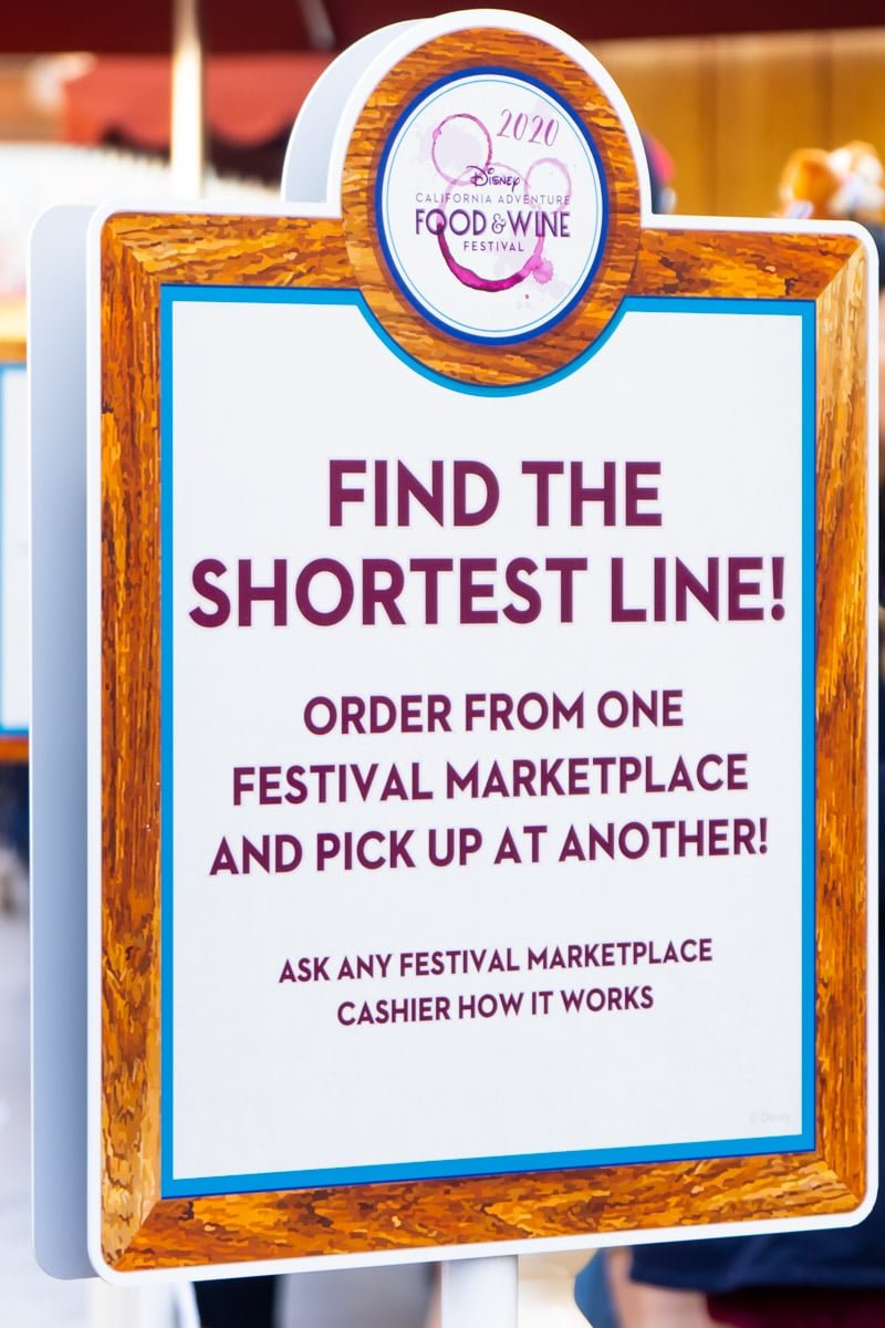 Line sign at the Disneyland food and wine festival