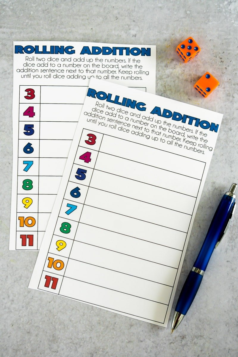 Printable addition math dice games