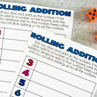 Free Printable Math Dice Games