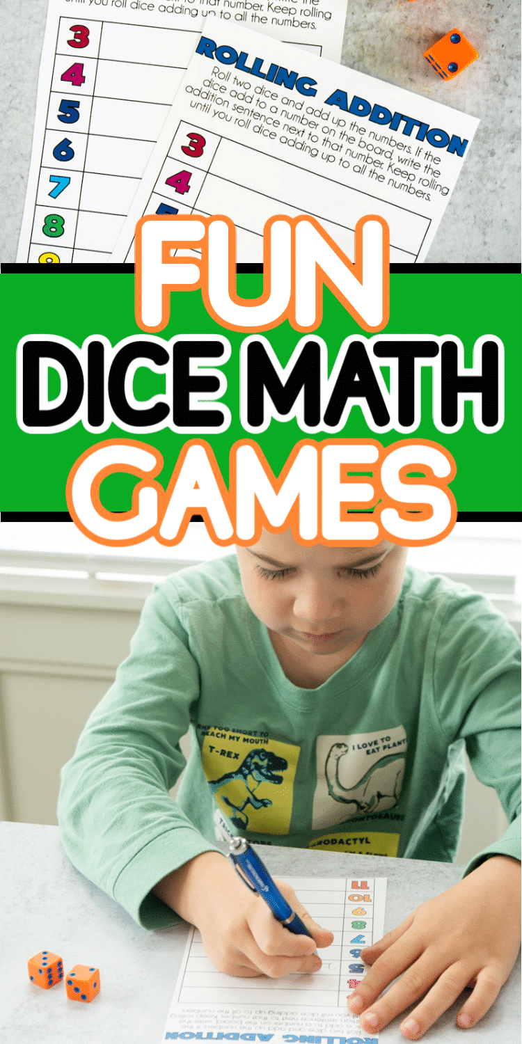 These printable math dice games are great for adding a little fun to math practice! Fun games for the entire family or for playing with the kids to use their math skills in a really fun way!