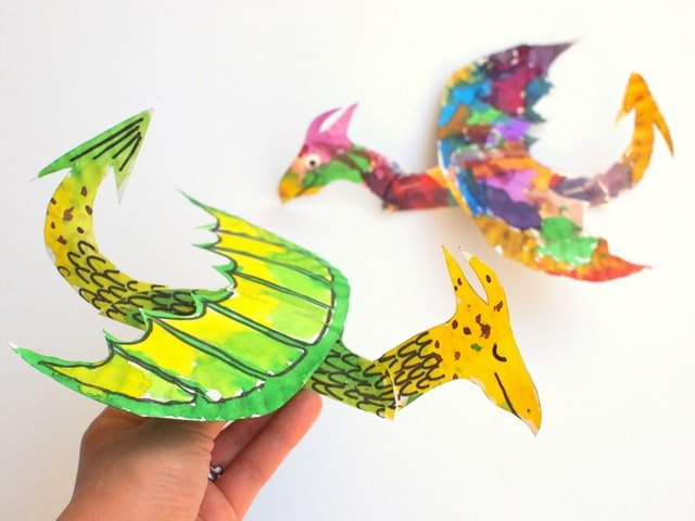 Paper plate dragons for kids