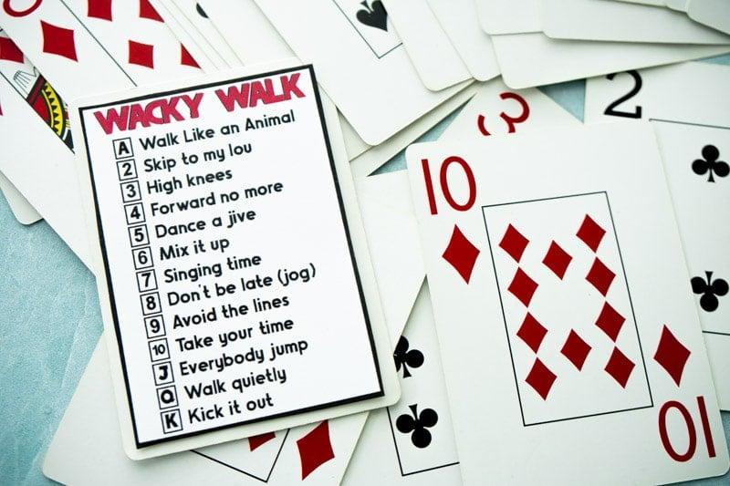 Wacky walk cards