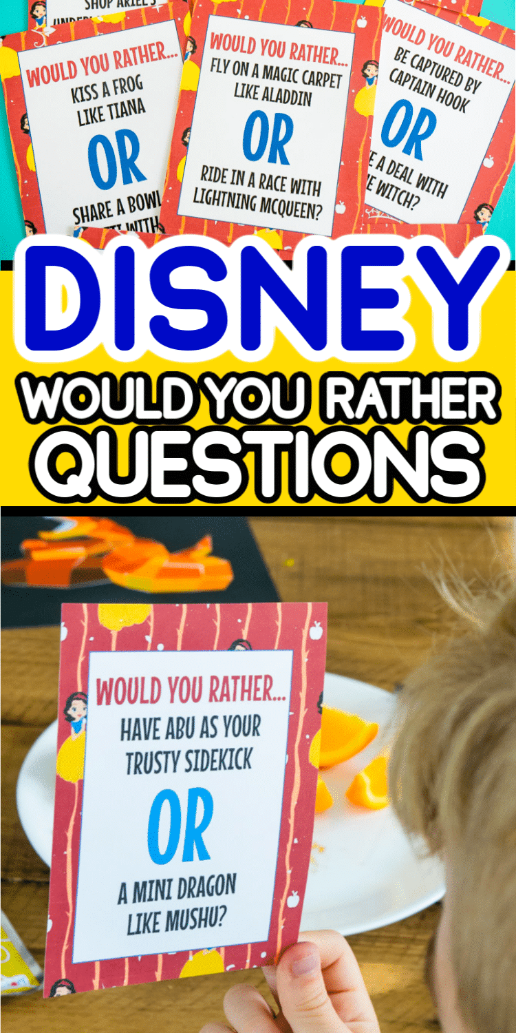 Have you ever played the would you rather game? These Disney would you rather questions for kids will have everyone giggling as you have to choose between kissing a frog and eating spaghetti with a dog? Or what about picking between magic hair and bow and arrow skills? These would you rather questions make a great family activity for any Disney loving family!