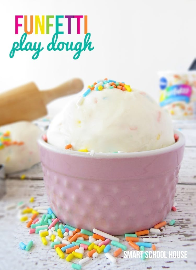 Funfetti play dough is one of the most fun indoor activities for kids