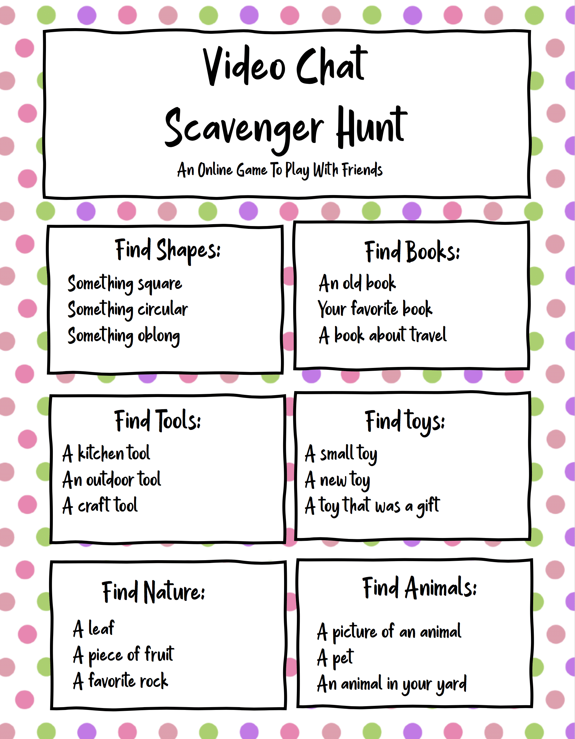 Printable video scavenger hunt cards