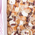 Close up of french toast casserole toppings