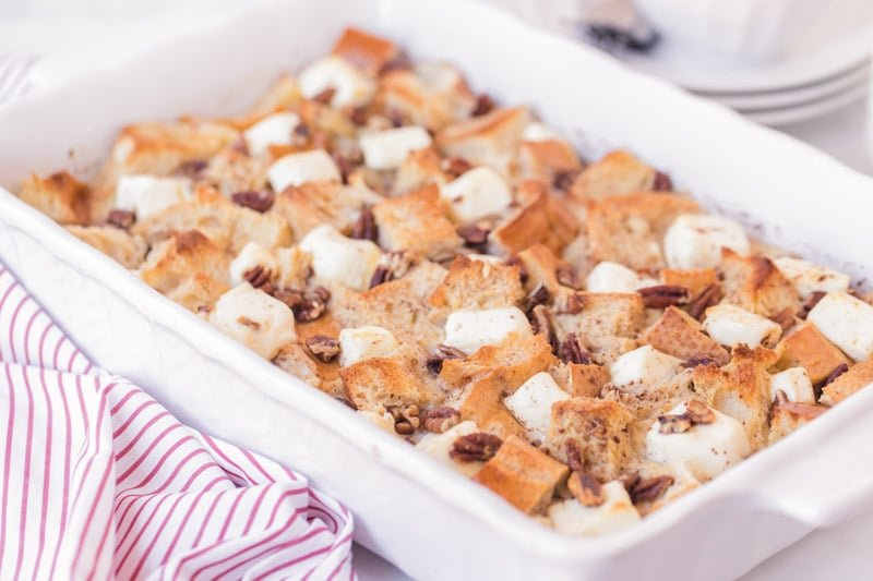 Baked french toast casserole resting