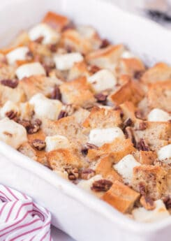 Pan of baked french toast casserole