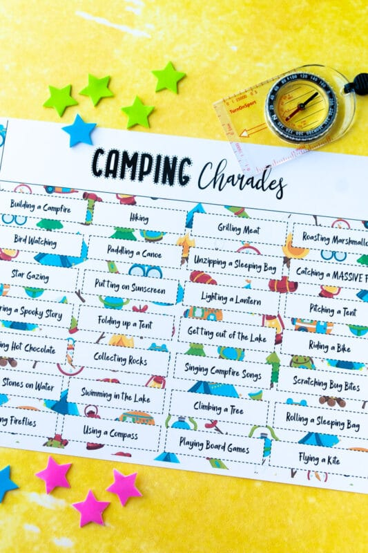 Printed out camping charades words