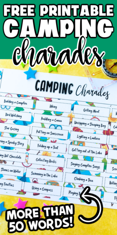 Play camping charades or pictionary to add an element of fun to a campout or camping birthday party! Over 50 camp themed words to act out!