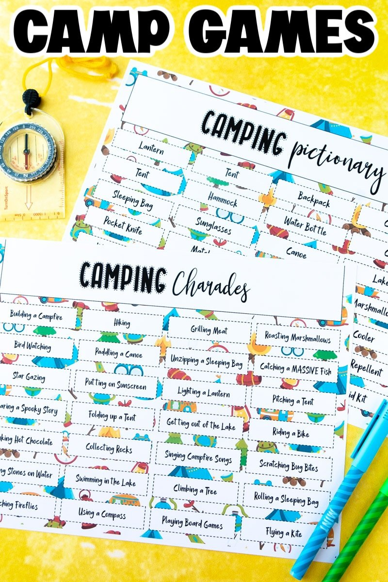 Printed out camping charades game
